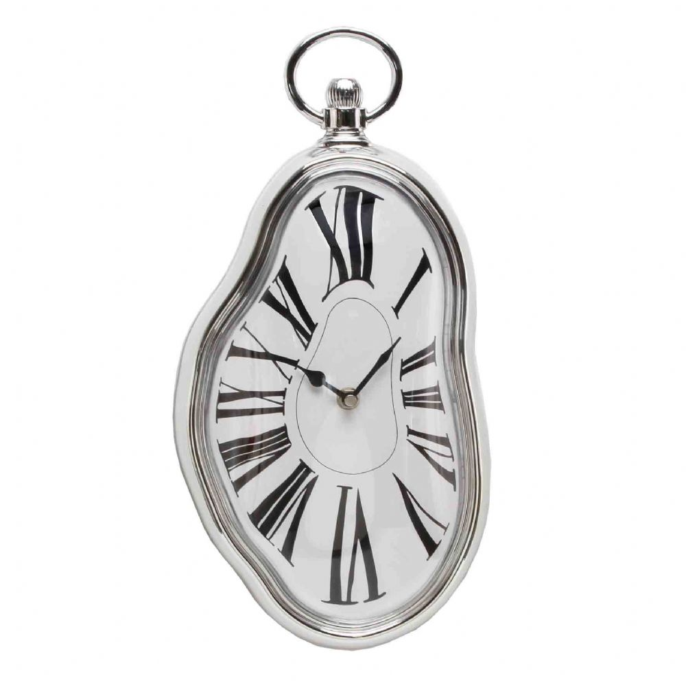 Melting Salvadore Dali Distorted Chrome Effect Wall Clock - Wonderland Wobbley Wall Clock